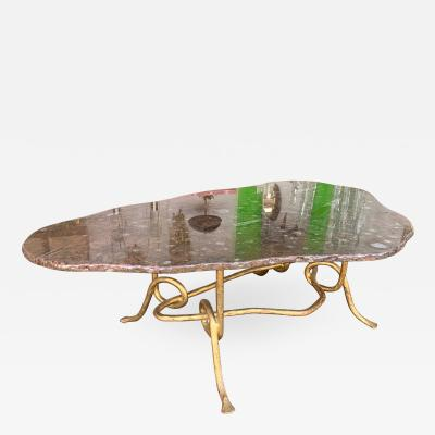 Coffee Table Gilt Iron Fossil Stone Top by Pinguaud France 1980s