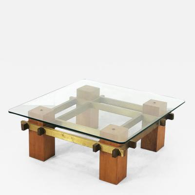 Coffee table in brass and wood of the 50s original