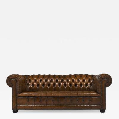 Cognac Leather English Chesterfield Sofa