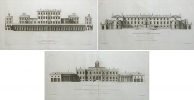 Colen Campbell Rare set of 3 English architectural copper engravings by Colen Campbell