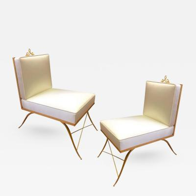 Colette Gueden Colette Gueden Pair of Superb Refined Slipper Chairs Newly Covered in Silk