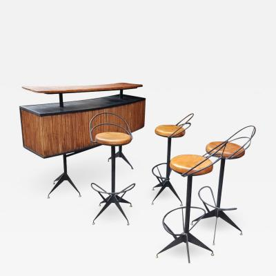 Colette Gueden Colette Gueden exceptional riviera style bar and 4 stools set