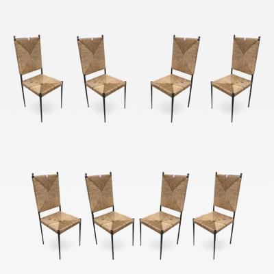Colette Gueden Colette Gueden for Primavera rarest set of 8 dinning chairs in genuine condition