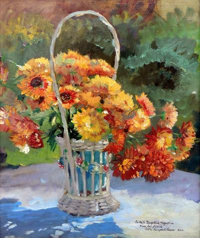 Colin Campbell Cooper Flowers in Basket in a Garden