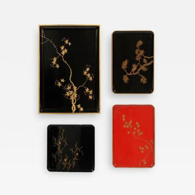 Collection of Four Japanese Lacquered Tray