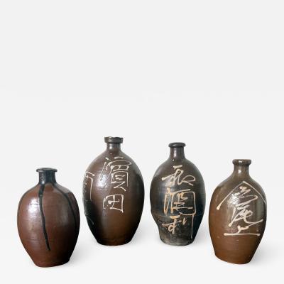 Collection of Four Japanese Tamba Sake Bottles