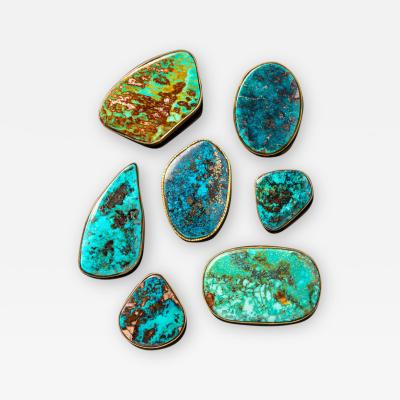 Collection of Natural American Turquoise Pins with Gold Bezels