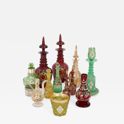 Collection of twelve Bohemian glass objects