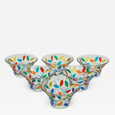 Colleoni Modern Set of 6 Crystal Murano Glass Cups Bowls with Colorful Leaves