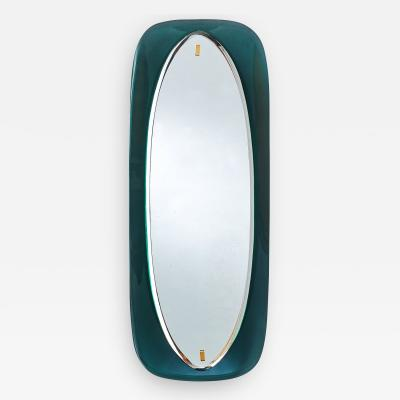 Colored Glass Slim Beveled and Curved Mirror Italy 1950s