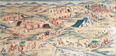 Colorful Folk Art 18th Century Chinese Watercolor of Mongolia