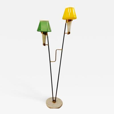 Colorful Italian Modern Floor Lamp with marble base 1960s