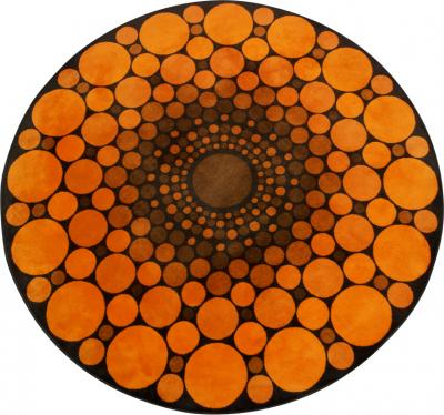 Colorful Round 1970s Carpet in Style of Verner Panton 1970s