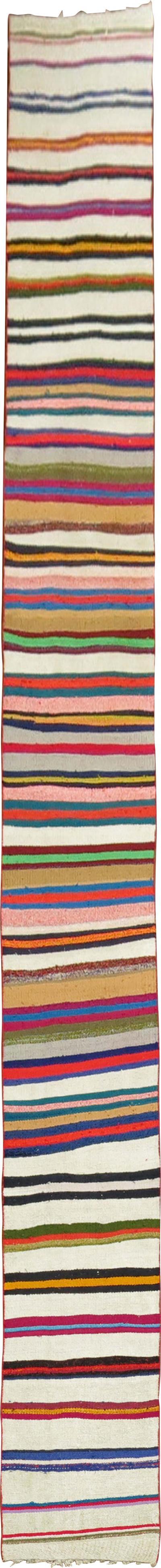 Colorful Striped Long and Narrow Kilim Runner rug no j1748