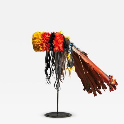 Colourful Neck covering Headdress Myhara from the Rikbaktsa people in Brasil