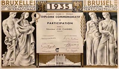 Commemorative Diploma for Belgian Artistic Art Deco Exposition