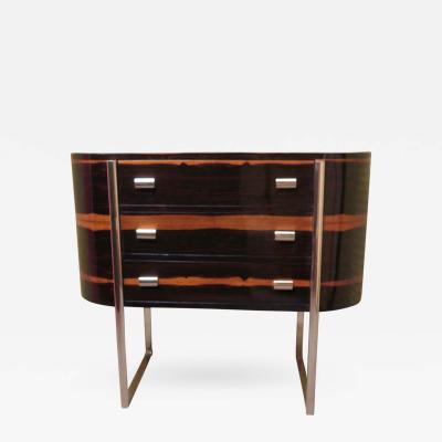 Commode in Macassar Brass Legs Italy 1960s