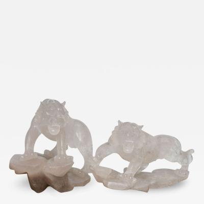 Companion Pair of Rock Crystal Tiger Sculptures France