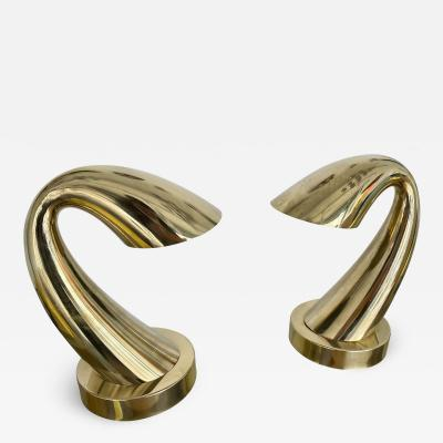 Comtemporary Pair of Brass Horn Tube Lamps Italy