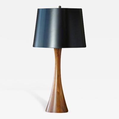 Concave Teak Table Lamp