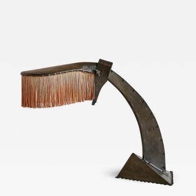 Conrad Fehn Conrad Fehn Amsterdam School Table Lamp in Hammered Copper and Silk 1925