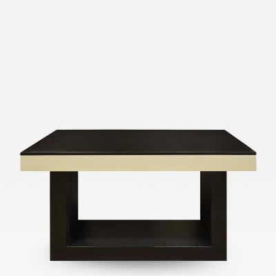 Console Table In Lacquered Linen with Black Granite Top 1970s