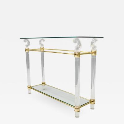 Console Table in Glass Brass and Lucite 1970s