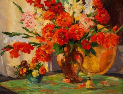 Constance Cochrane Scarlet Zinnias Gladiolus