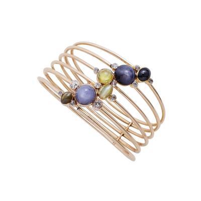Constellation Cats Eye Sapphire Diamond Gold Bangle Bracelet