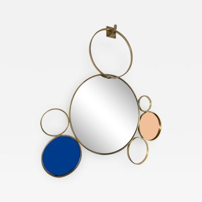 Contemporary 7 Brass Circle Mirror Italy