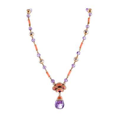 Contemporary Art Nouveau Coral Amethyst and Diamond Necklace
