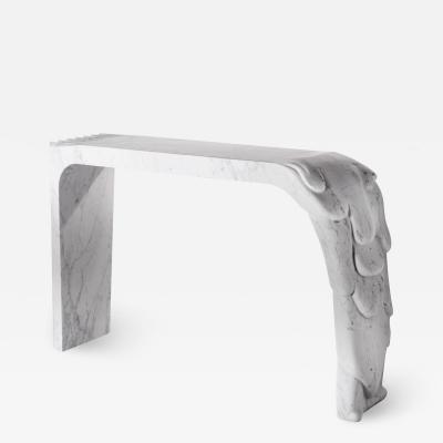 Contemporary Atelier Terrai Italian White Carrara Marble Art Deco Design Console