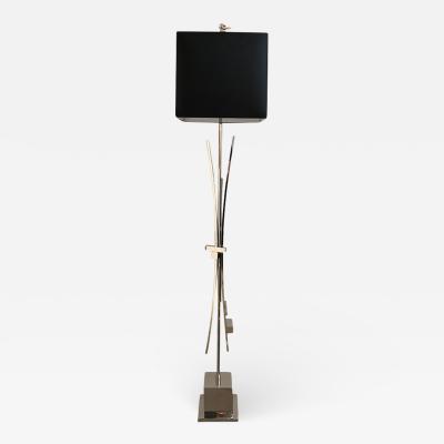 Contemporary Bespoke Italian Abstract Design Meccano Nickel Floor Lamp