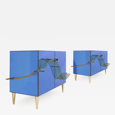 Contemporary Blue Murano Glass Mirror and Brass Pair of Italian Cabinets