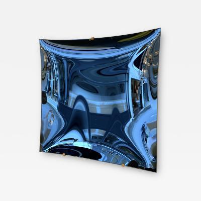 Contemporary Blue Square Curve Mirror Italy