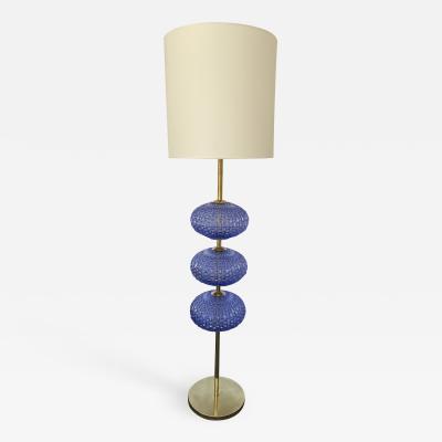 Contemporary Brass Blue Bulbs Murano Glass Floor Lamp Italy