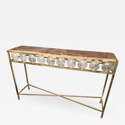 Contemporary Brass Console Rock Crystal Onix Italy