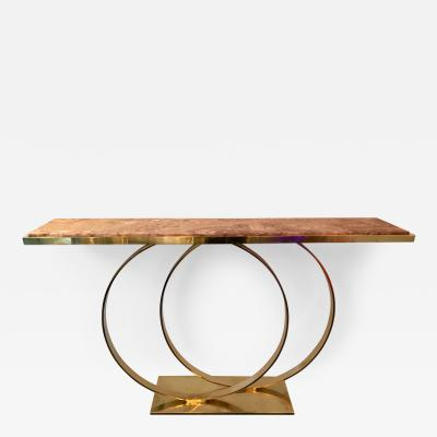 Contemporary Brass Console Table Two Circle Red Onix Italy