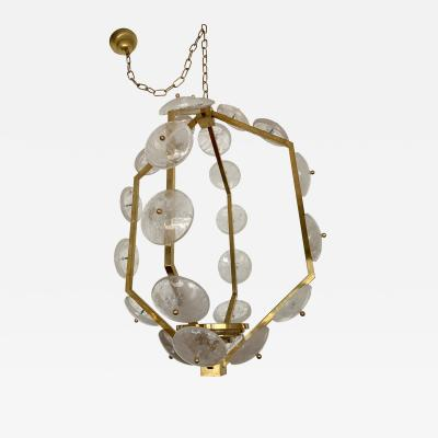 Contemporary Brass Lantern Chandelier Rock Crystal Italy