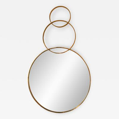 Contemporary Brass Mirror 3 Circle Italy