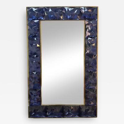 Contemporary Brass Mirror Blue Murano Glass Italy