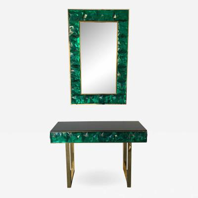 Contemporary Brass Mirror Console Set Murano Glass Italy