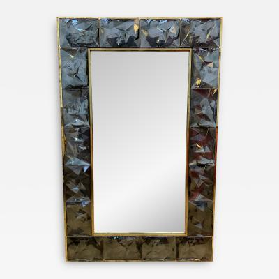 Contemporary Brass Mirror Gray Murano Glass Italy