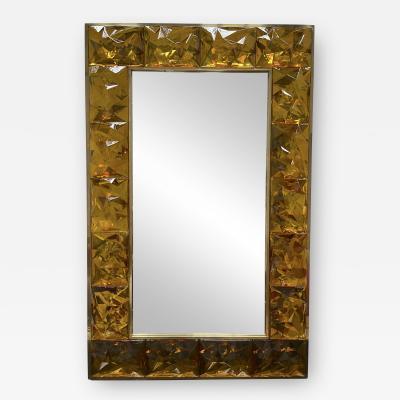 Contemporary Brass Mirror Murano Glass Italy