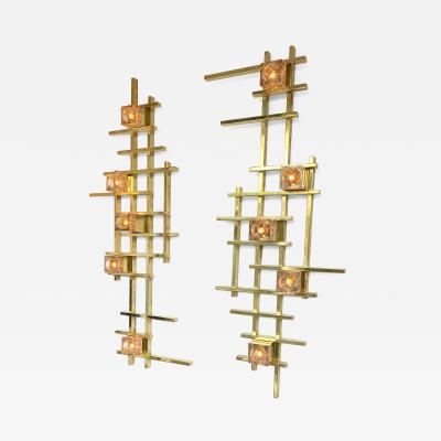 Contemporary Brass Murano Glass Cubic Sconces Italy