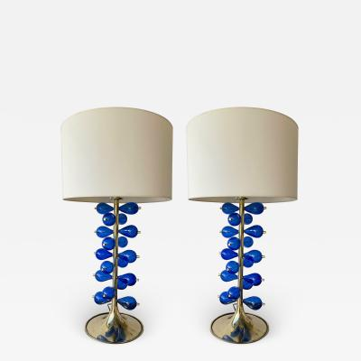 Contemporary Brass Pair of Lamps Blue Murano Glass Bubble Drop Italy