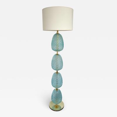 Contemporary Brass Pineapple Murano Glass Floor Lamp Italy
