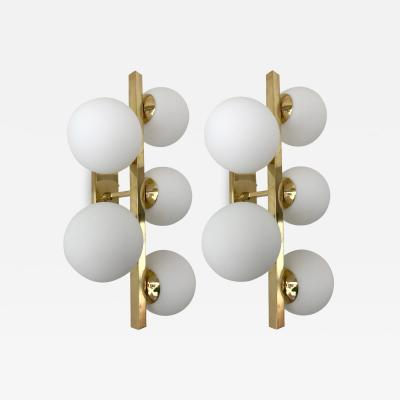 Contemporary Brass Sconces Opaline Glass Ball Italy