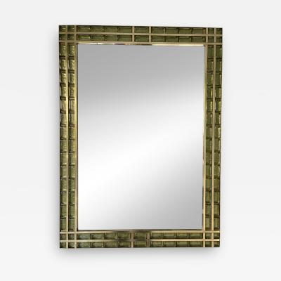 Contemporary Brass and Murano Glass Cabochon Mirror Italy