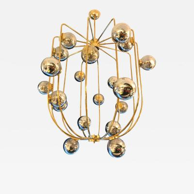 Contemporary Chandelier Brass Cage Italy